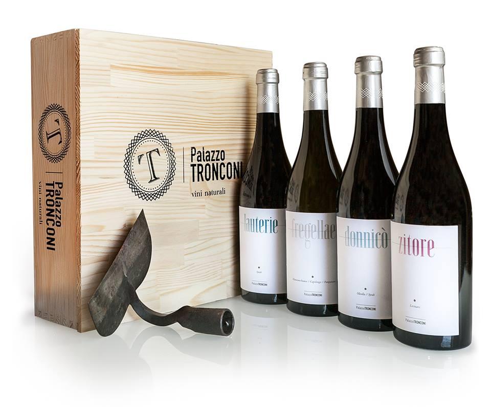 palazzo tronconi natural wine bottles